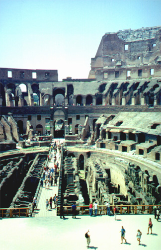 Inside the Colosseo (Colosseum).