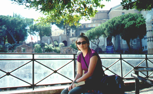 Katie Miller next to the Foro (Forum). At the time, we didn't know we were next to it.