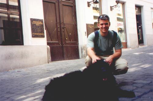Brian Kleinman with a friend.