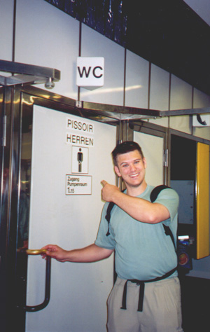Brian Kleinman at the bathroom.