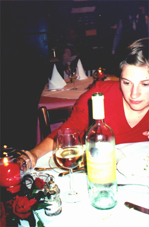 Katie Miller at dinner.