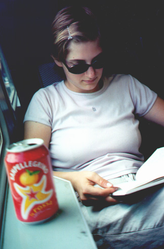 Katie Miller on the train to Rome.