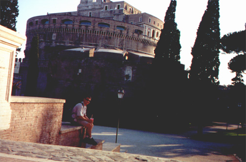 Brian Kleinman with icy-treats at Castel Sant'Angelo.