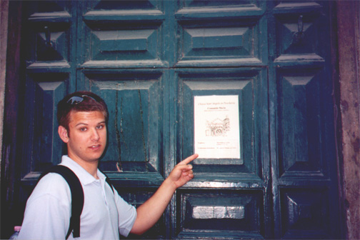 Brian Kleinman in front of Church of Sant' Angelo in Perscheria, where Jews were once forced to attend Mass.