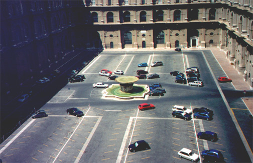 From inside the Vatican Museum, a Papal parking lot.