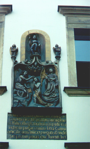 Plaque in Judenplatz, a 16th century relief about the medival purge of Vienna's Jews.