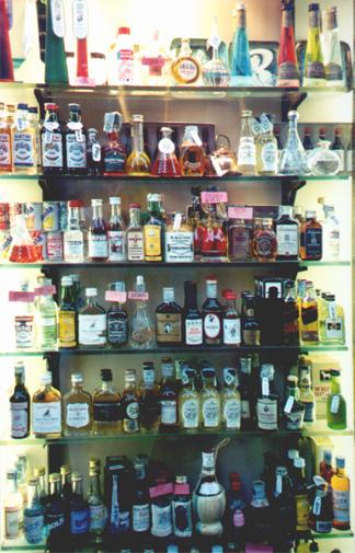 Little alcohol bottles.