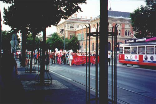 A rally in Volksgarten (People's Park).