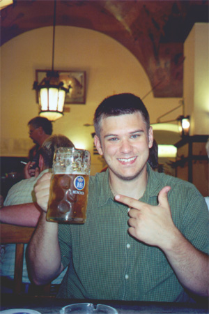 Brian Kleinman and his beer at the Hofbräuhaus.