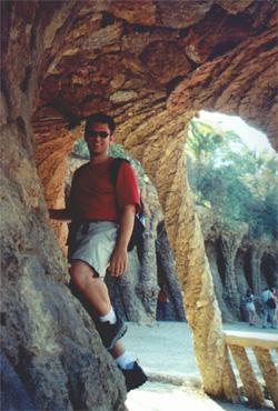 Brian Kleinman climbing in Parc Guell (Gaudi)