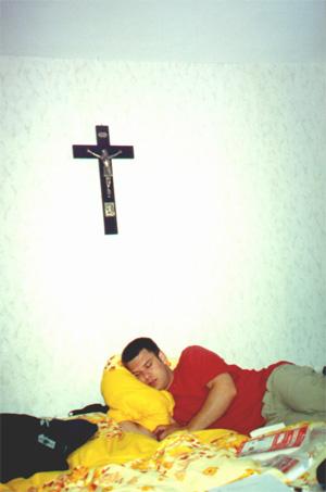 7/1/01, Brian Kleinman sleeping in our pension.