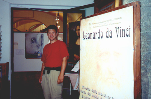 Brian Kleinman at a Leonardo da Vinci exhibit on his machines, San Gimignano