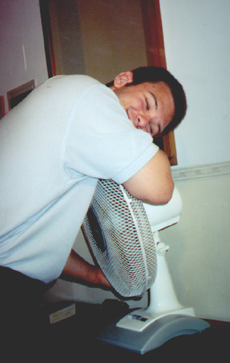 July 17, 2001: Brian Kleinman hugging the fan in our hotel.