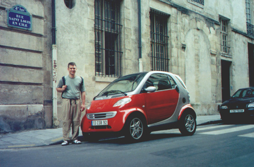 Brian with a Smart Car.