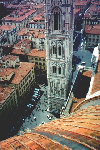 The campanile (tower) from the top of the duomo