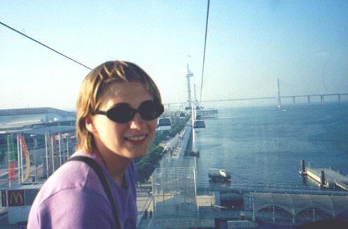 Katie Miller on the Teleférico (gondola) in Parque das Nações (Park of Nations)