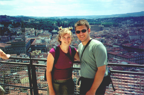 Katie Miller and Brian Kleinman at the top of the duomo