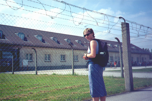 Katie Miller at Dachau concentration camp.