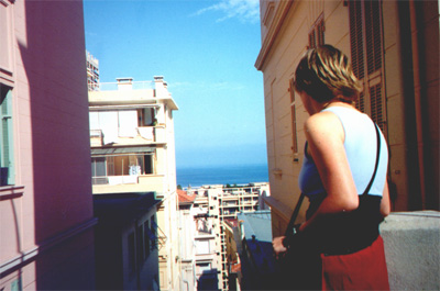 July 23, 2001: Katie Miller on one of the many hills in Monte Carlo