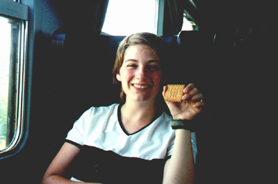 July 21, 2001: Katie Miller on the train to Pisa