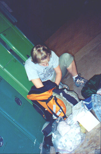 August 15, 2001: Katie Miller with her pack at the Rossio train station.