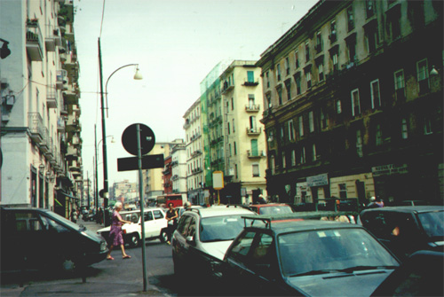 July 10, 2001: This picture doesn't even begin to describe the craziness and confusion of Naples: cars parked on the corners of roads, no traffic signals, and people walking everywhere.
