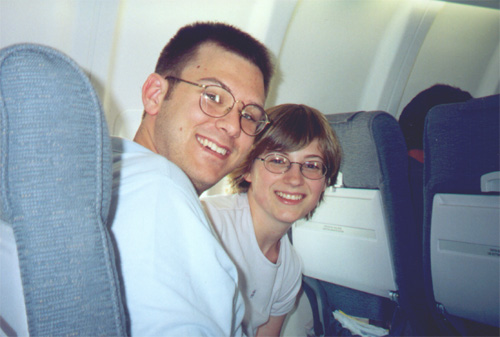 Brian and Katie on the airplane to Paris.