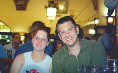 Tanja Bunkowski and Brian Kleinman at the Hofbräuhaus.